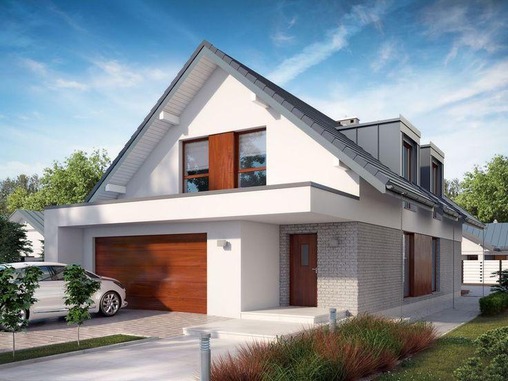 Dom jednorodzinny, parterowy z użytkowym poddaszem i garażem dwustanowiskowym. Zaprojektowany z myślą o niezbyt szerokich działkach.