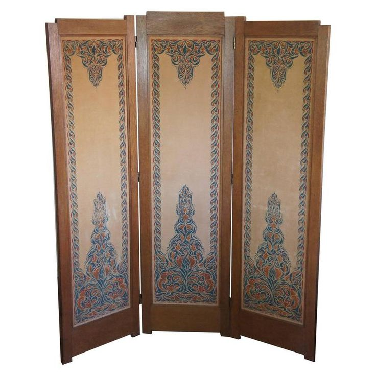 Art Deco Amsterdam School Folding Screen with Batik Printed Felt on Wood Panels | From a unique collection of antique and modern screens and room dividers at https://www.1stdibs.com/furniture/more-furniture-collectibles/screens/