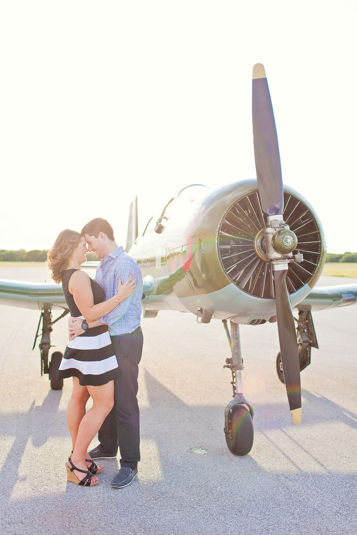 Vintage Plane Engagement Session | On Style Me Pretty: http://www.StyleMePretty.com/texas-weddings/georgetown/2014/03/19/vintage-plane-engagement-session/ Lux Photography