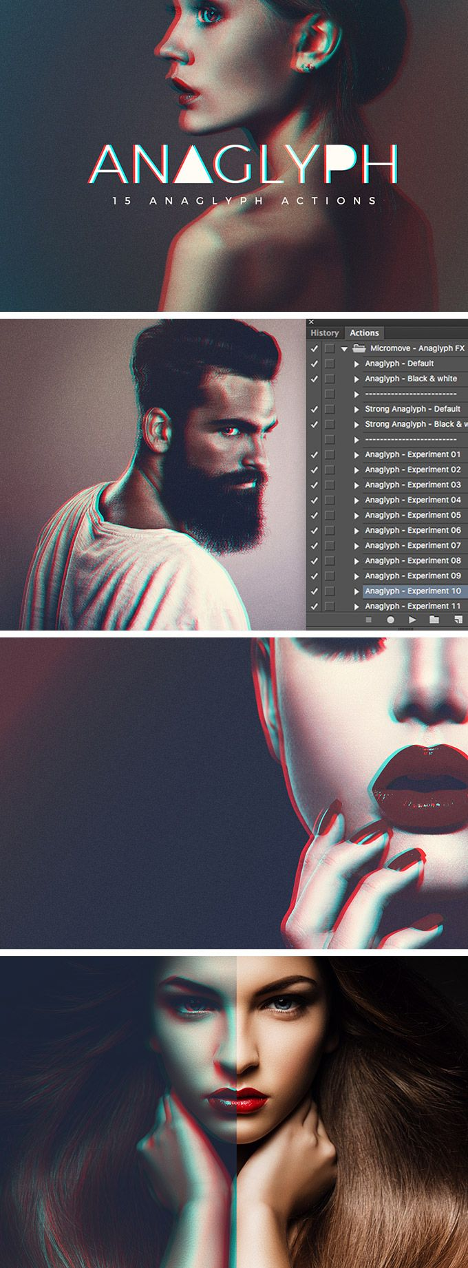 Download free anaglyph photo actions for Photoshop