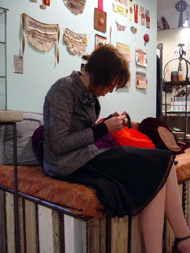 SHOPLIFTER Robin Richman, Chicago...sewing instore.