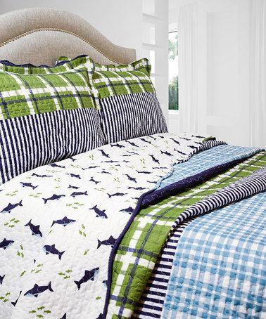 This Blue & Green Royce Quilt Set is perfect! #zulilyfinds
