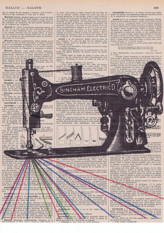 Vintage Sewing Machine Repurposed Antique Print