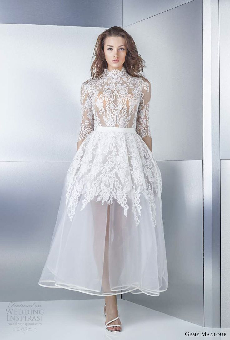 gemy maalouf 2017 bridal half sleeves high neck heavily embellished bodice romantic tea length short wedding dress cover lace back (4793b 4793ls) mv