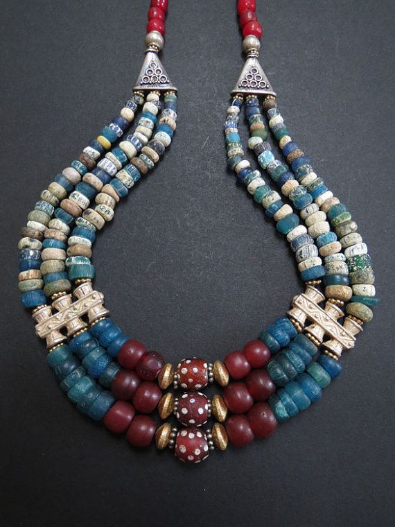 Rare Antique Djenne Glass and Trade Bead Necklace by GEMILAJewels, $375.00