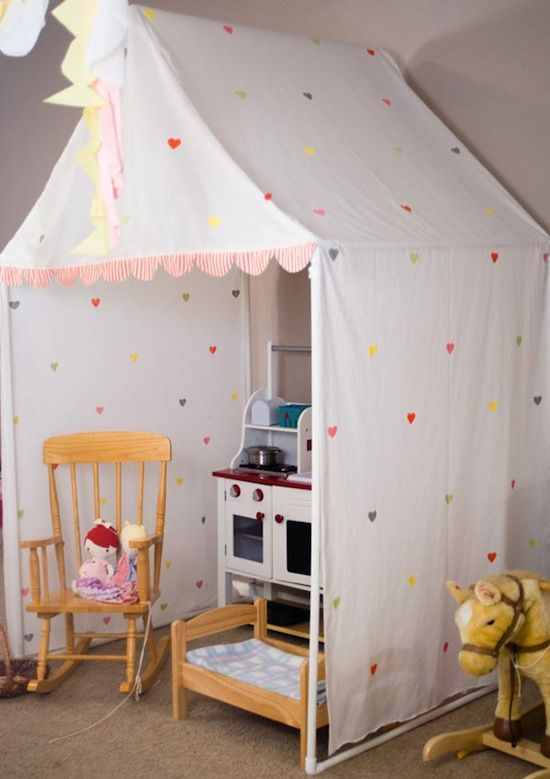 35 Playful and Fun DIY Tents for Kids. My kids share a room. Thinking about making one over each of their beds for privacy.