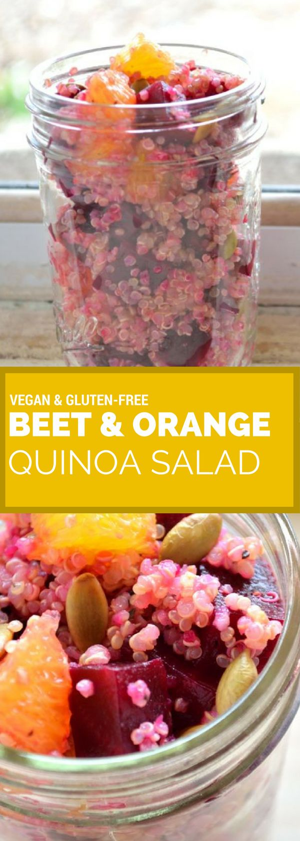 This vegan recipe for roasted beet, blood orange, and quinoa salad is full of protein, flavor, and texture. Dress it with your favorite vinaigrette and top with roasted pumpkin seeds.