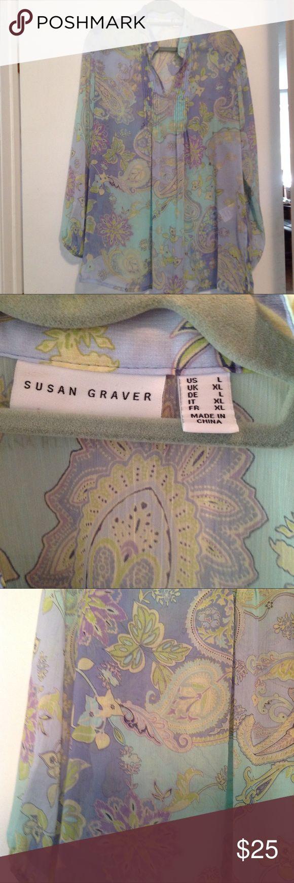 Susan Graver Sheer Tunic New size Large Blue\Green Susan Graver NEW blue\green Sheer tunic size large, no defects Susan Graver Tops Tunics