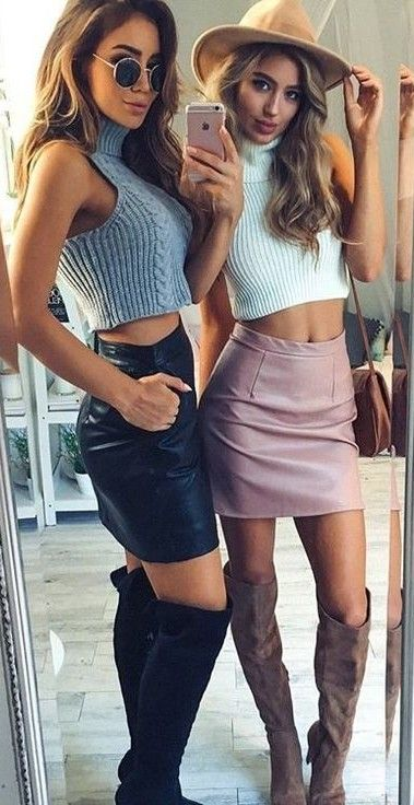 Knit Crop + Leather Skirt                                                                             Source