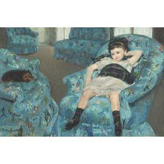 [フリー絵画素材] メアリー・カサット - 青い肘掛け椅子の上の少女 (1878) ID:201311140600