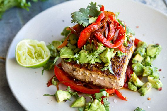 Mexican Tuna Steaks w Roasted Red Pepper & Avocado; for tuna use garlic to taste and a little less than 1 tbsp crushed coriander. For peppers use two depending on size, thinly slice red onion and use 1/2 tsp cumin (or to taste). Use plenty of cilantro! Loved this!