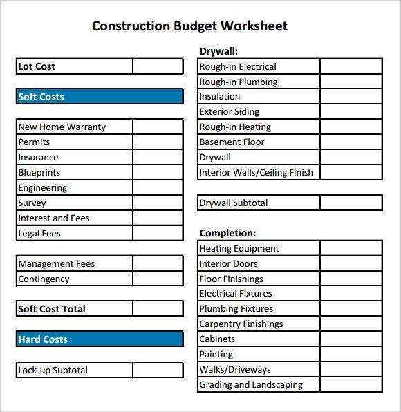 construction budget spreadsheet