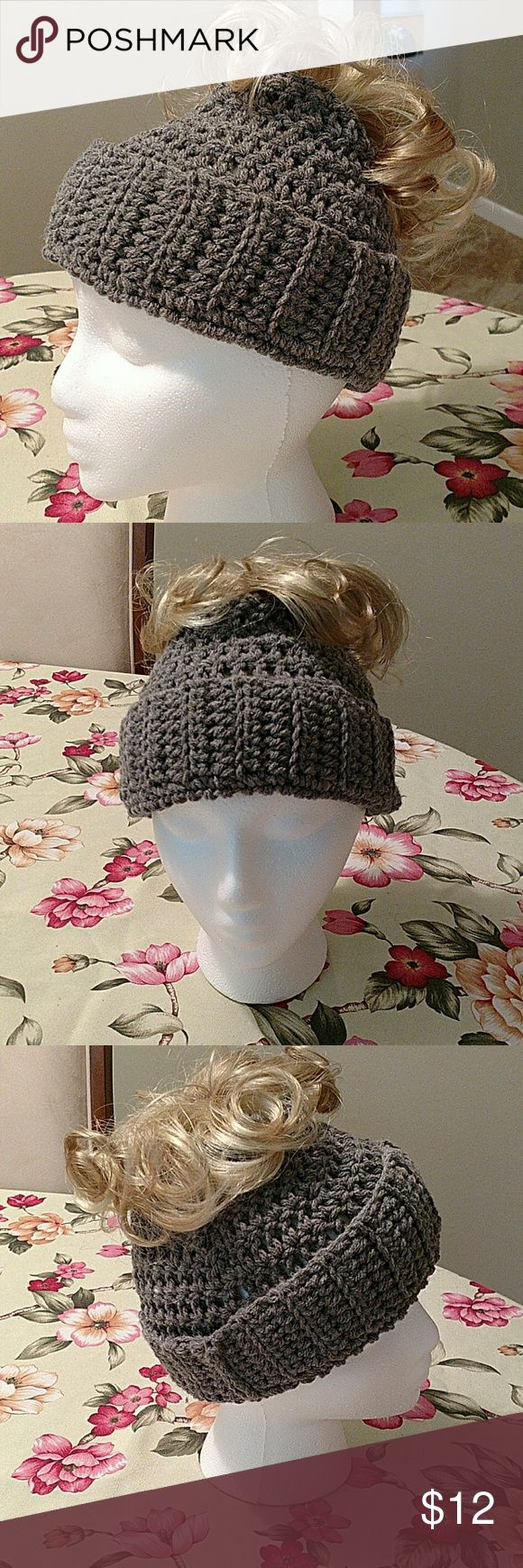 Messy Bun Hat Medium grey hat. Pull your bun or ponytail through opening on top. 100% acrylic for machine washing and drying. So fashion forward! Handmade Accessories Hats