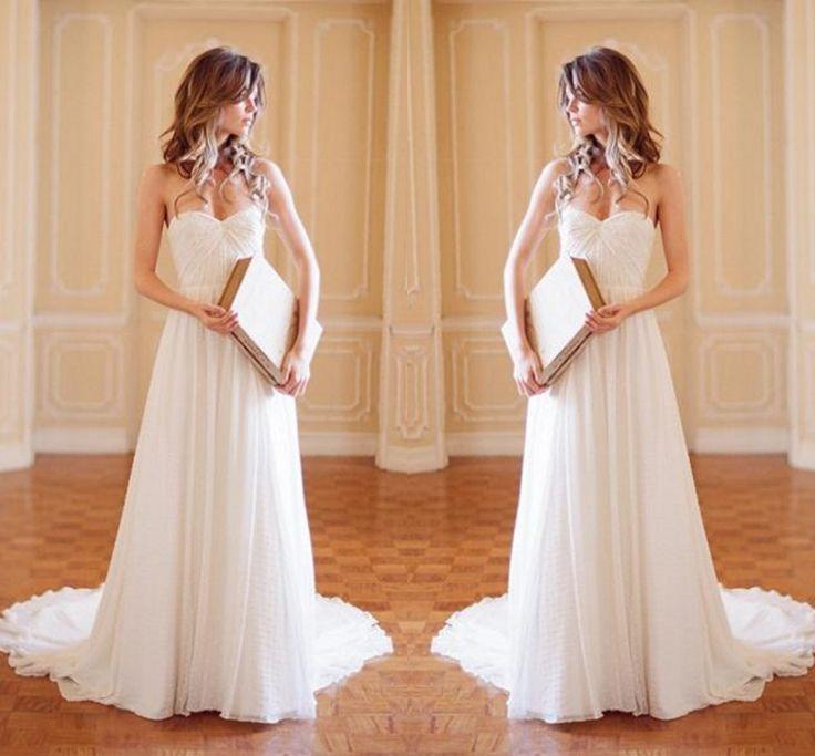 Мода 2016 Дешевые Белые Свадебные Платья для летнего пляжа свадьбы Шифон Милая спинки свадебное платье vestidos де noiva