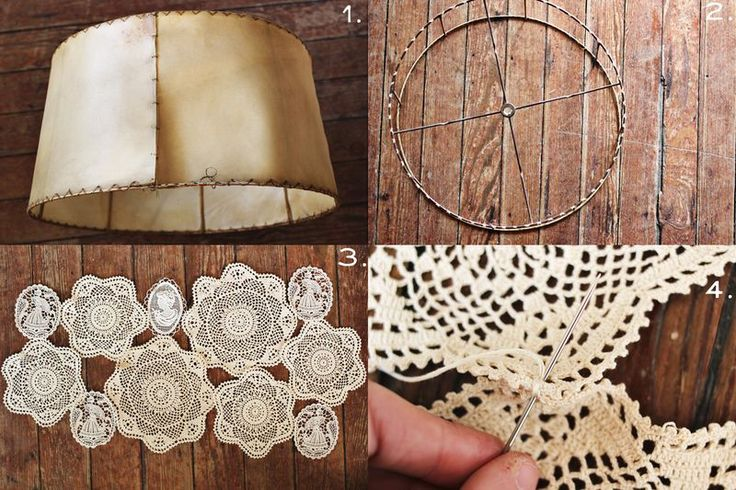 Cover a lamp shade skeleton with doilies. Stitch them together with white embroidery floss, then attach them to the shade frame. Doesn't matter if there are spaces.