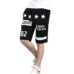 Fake Face Mode Shorts de Sport/Jogging Hip-Hop Basket-ball Baggy Casual Danse Sportive Tendance Rue Impression LONDON – noir XL