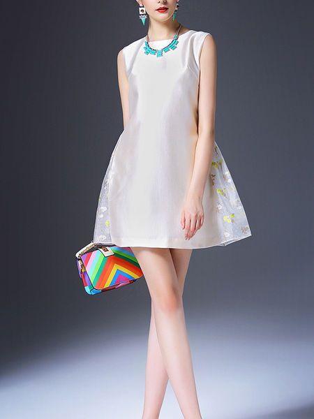 Paneled Cotton-blend Mini Dress