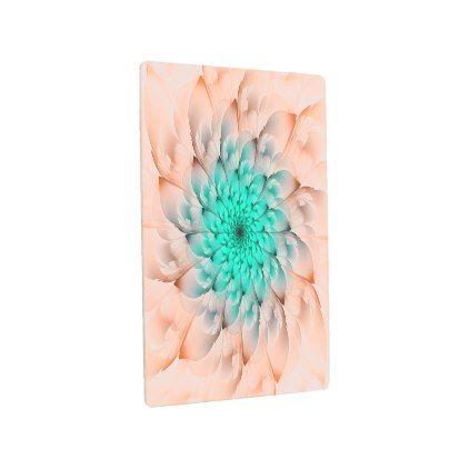 #Posters #Metal #Art - #Beautiful Peach Blossom Turquoise Fractal Flower Metal Print