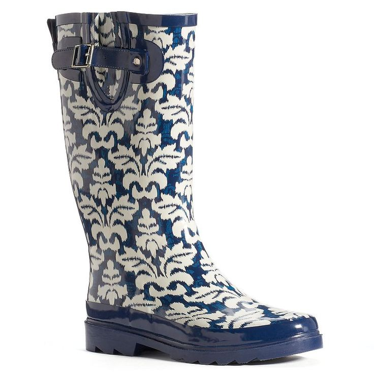 Western Chief Women's Mid-Calf Water-Resistant Rain Boots, Med Blue
