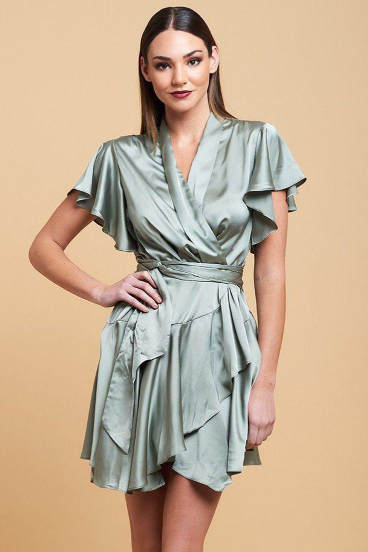 Miss Runway Fashion - Laurie Wrap Dress - Sage