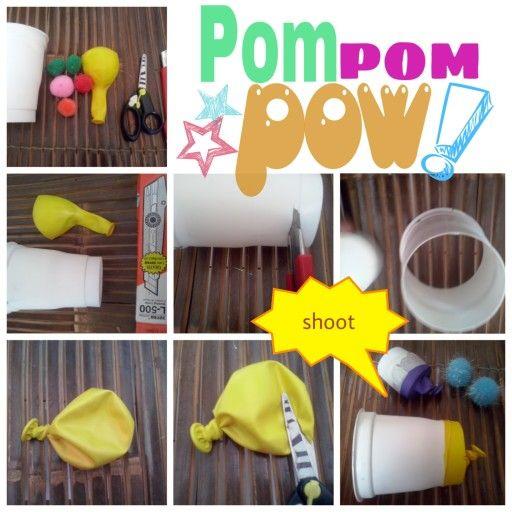 #diy toy #plastic glass #baloon #pom pom