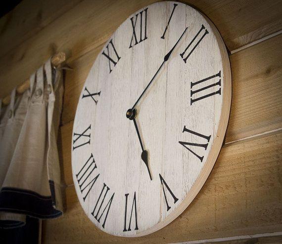 Farmhouse Wall Clock, Rustic Wall Clock, Wall Clock, Large Wall Clock, Wooden Wall Clock, Wall Clock Large, Wall Clocks, Home Decor