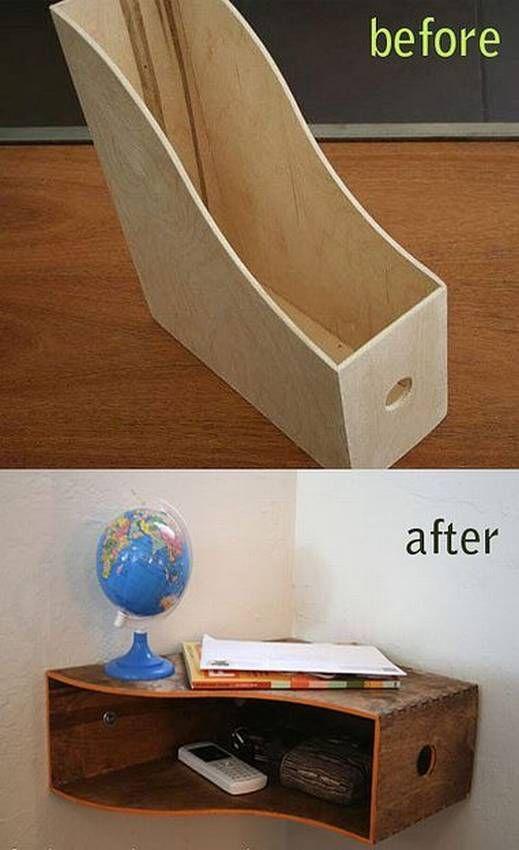 Corner shelf wooden storage