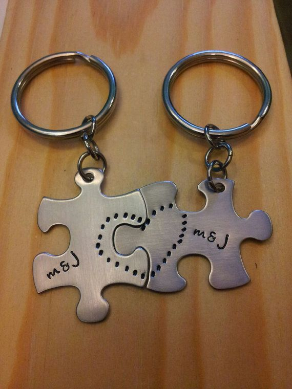 Hand Stamped Keychain - Personalized Keychain Couples Puzzle Piece Keychains with Names and Heart on Etsy, $14.99