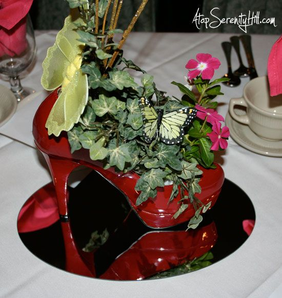 Red Shoe centerpiece for fundraiser « Atop Serenity Hill