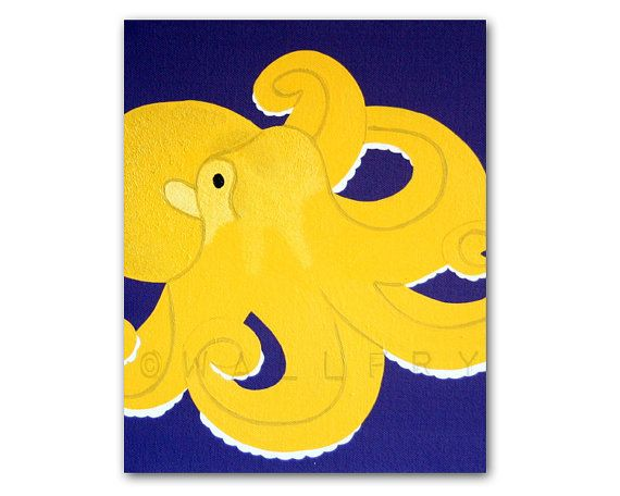 Octopus Print for baby / Child nursery. Sea life nursery wall art 8x10 print or kids rooms and playrooms & bathrooms in purple and yellow