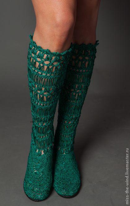 """авторские сапожки """"Прогулки по лесу"""" - зелёный,обувь ручной работы,обувь для улицы"""