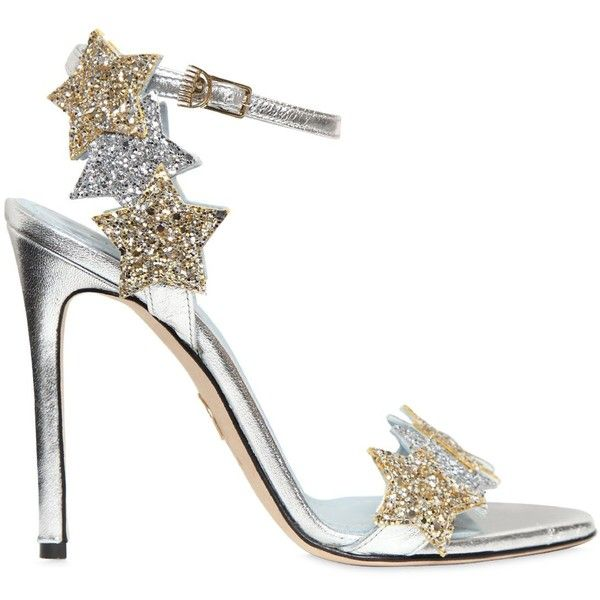 Chiara Ferragni Women 110mm Stars Glitter Wrap Around Sandals (34,590 PHP) ❤ liked on Polyvore featuring shoes, sandals, wrap sandals, star shoes, glitter sandals, metallic sandals and wrap shoes