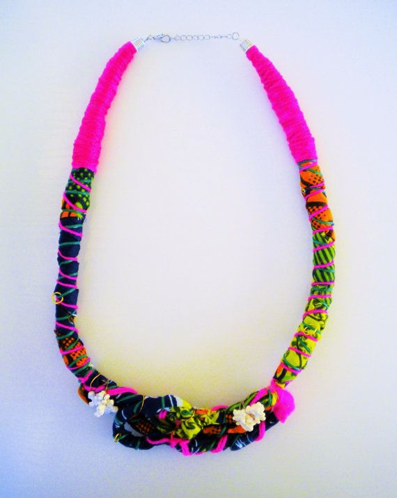 OOAK necklace, fabric necklace,statement wrap necklace, African rope necklace, tribal necklace, bib necklace, eco-friendly jewelry gift idea