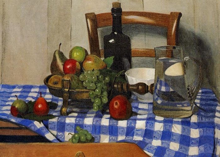 Still Life with Blue Checkered Tablecloth by Felix Vallotton #art