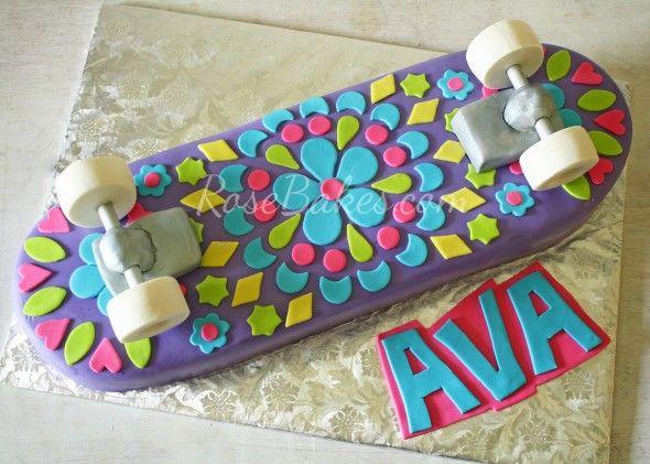 How to Make a Girly Skateboard Cake | http://rosebakes.com/how-to-make-a-girly-skateboard-cake/