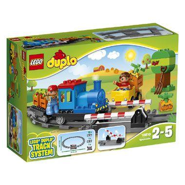 LEGO DUPLO duwtrein 10810  Duw de Duplo-trein van LEGO over de rails en laat de spoorbomen weer omhoog gaan zodat de auto verder kan rijden. LEGO-nr. 10810  EUR 27.99  Meer informatie