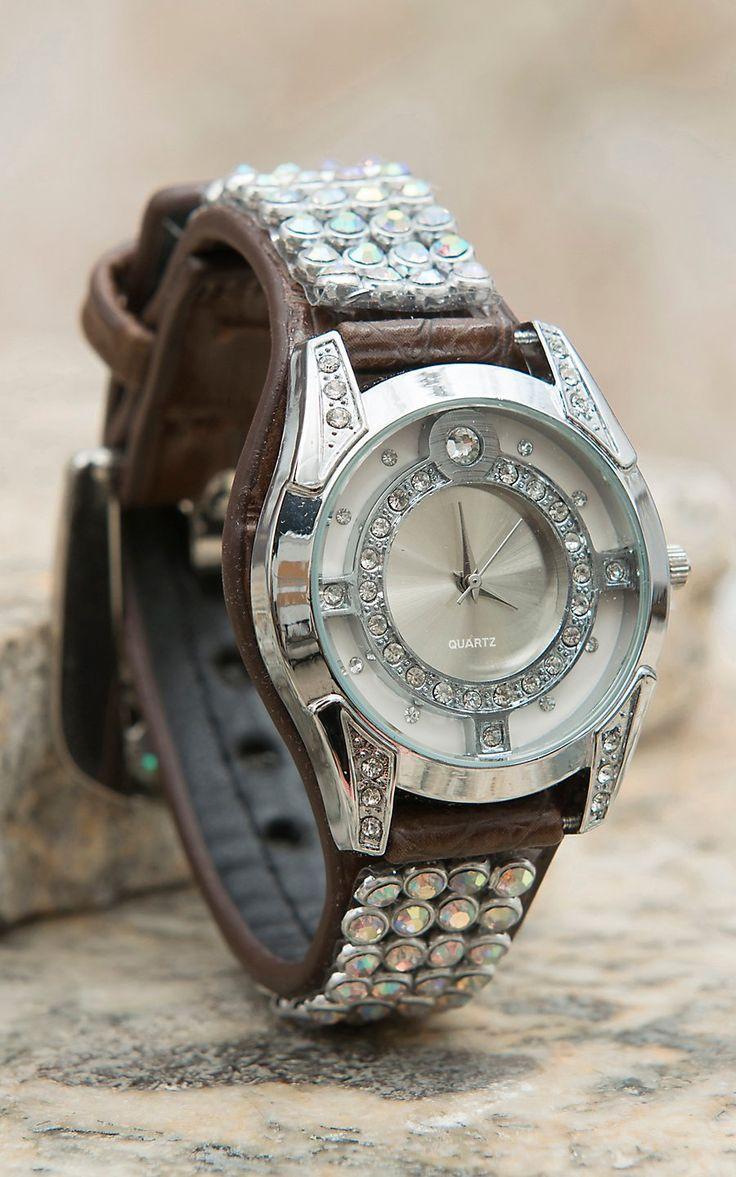 Blazin Roxx® Women's Brown with Iridescent Crystal Mesh Watch