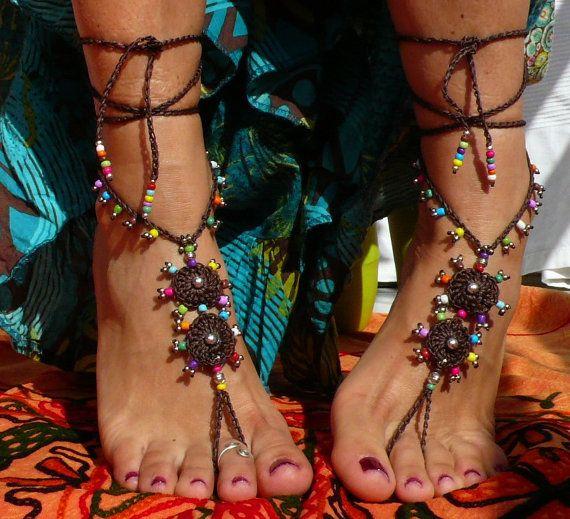 TRIBAL Mandala BAREFOOT SANDALS, Foot jewelry, Hippie Chic Sandals, Toe ring, Beaded crochet, Beach wedding, Yoga accessories