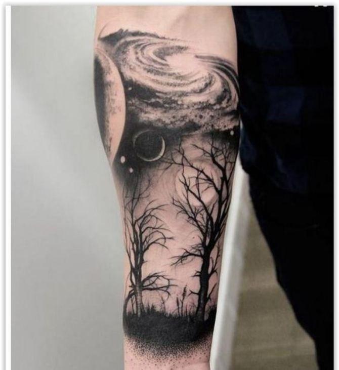 30 Tree Tattoos Tattoos Tree In 2020 Space Tattoo Sleeve Space Tattoo Planet Tattoos