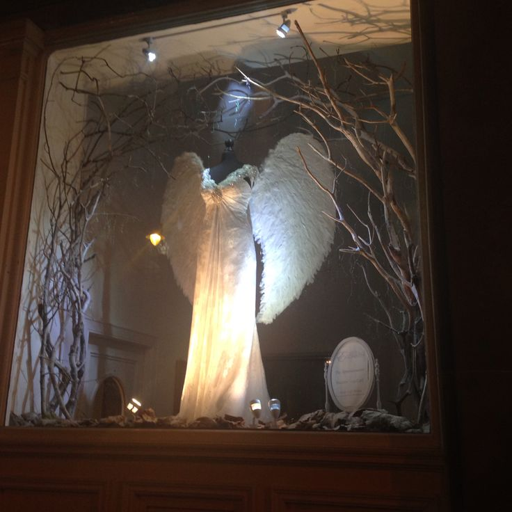 Frosty woodland angel bride in our 2014 Christmas shop window display