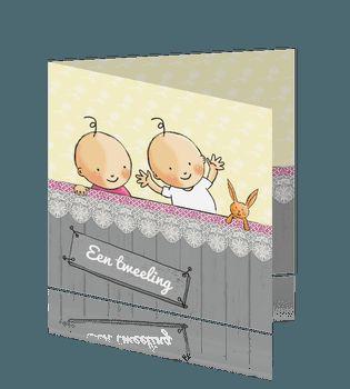 Geboortekaartje tweeling jongen meisje met knuffel konijn