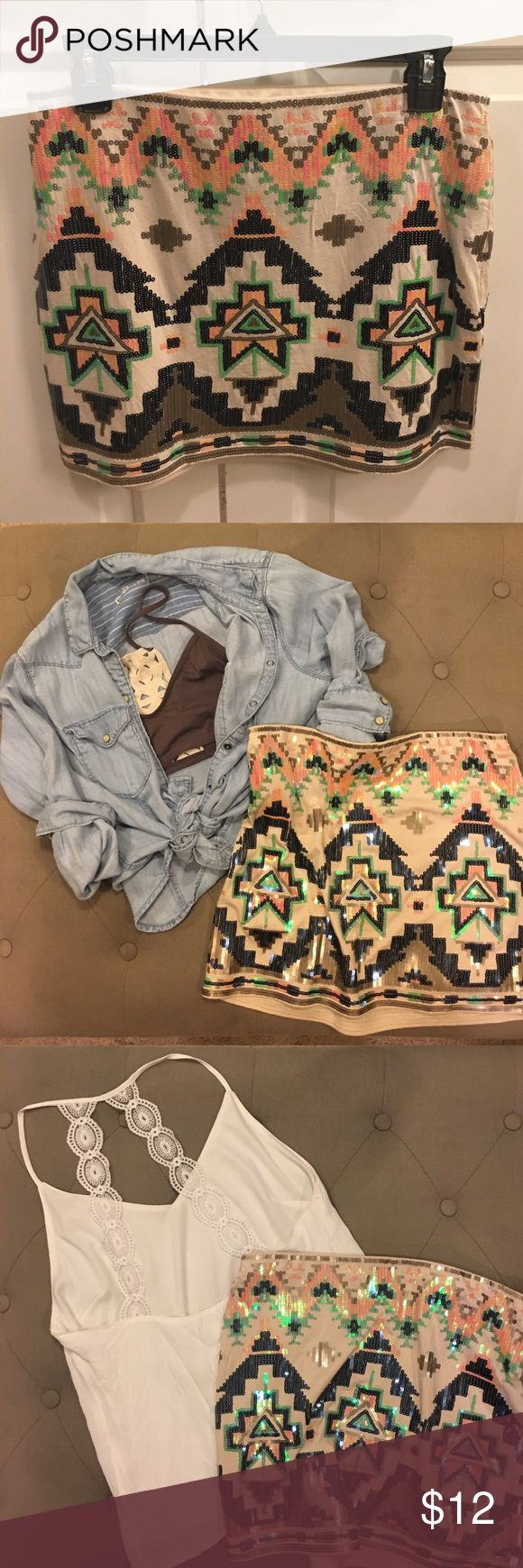 Sequin Aztec Skirt The perfect vacation or going out skirt. Easy to dress up or down. Size S, fits more like a M Express Skirts Mini