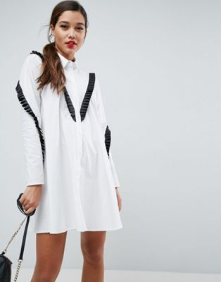 ASOS Trapeze Shirt Dress with Contrast Ruffle Trim