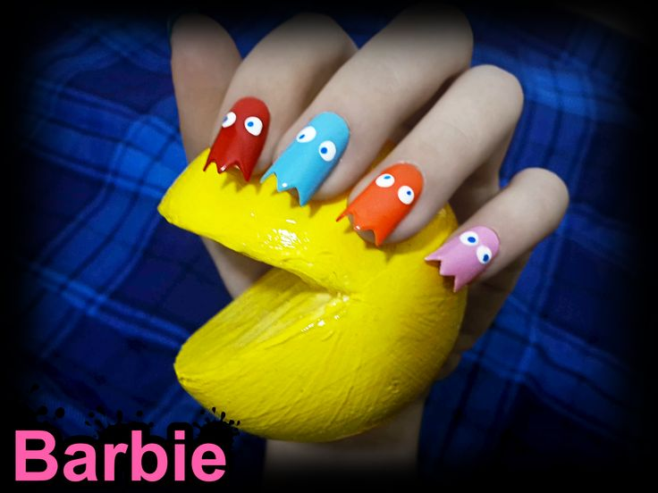 33 best fun games nail art images on pinterest barbie doll ghosts nails 3d nail design of the enemies in pacman the ghosts blinky prinsesfo Image collections