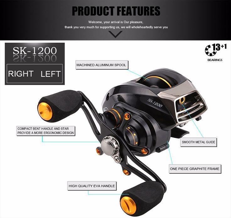 SeaKnight SK1200 6.3:1 Fishing Reel 14BB 215g 2 Brake Systems Left/ Right Hand BaitCasting Wheel
