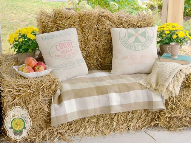 Find how to use inexpensive hay bales to create a cozy outdoor lounger.