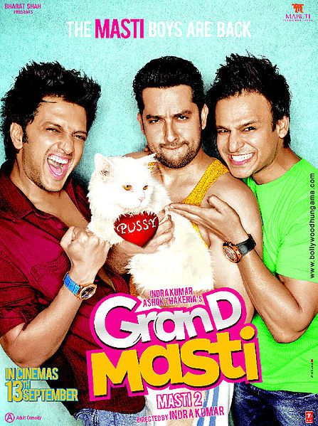 Release date:- 13 September 2013  Grand Masti is an upcoming Bollywood adult comedy Movie which is directed by Indra Kumar and produced by Ashok Thakeria.This Movie is a sequel to the 2004 hit, Masti, and will feature Vivek Oberoi, Aftab Shivdasani and Riteish Deshmukh . Grand Masti Poster:- [caption i