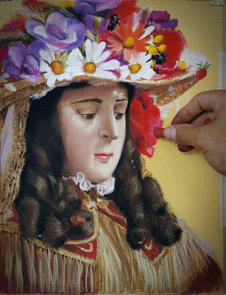 Virgen del Rocio, pastel sobre papel 40x 30 cm.