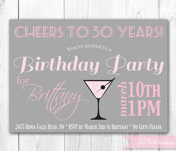 Shown here for a 30th birthday party, but this chic & modern adult birthday invitation can be personalized for any age.    {Personalized