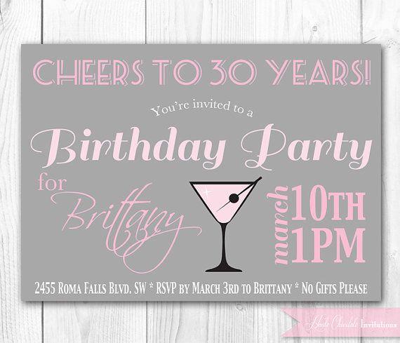 Chic Cocktail Birthday Invitation. 30th Birthday Invitation. DIY Printable Birthday Party Invite.. $14.00, via Etsy.